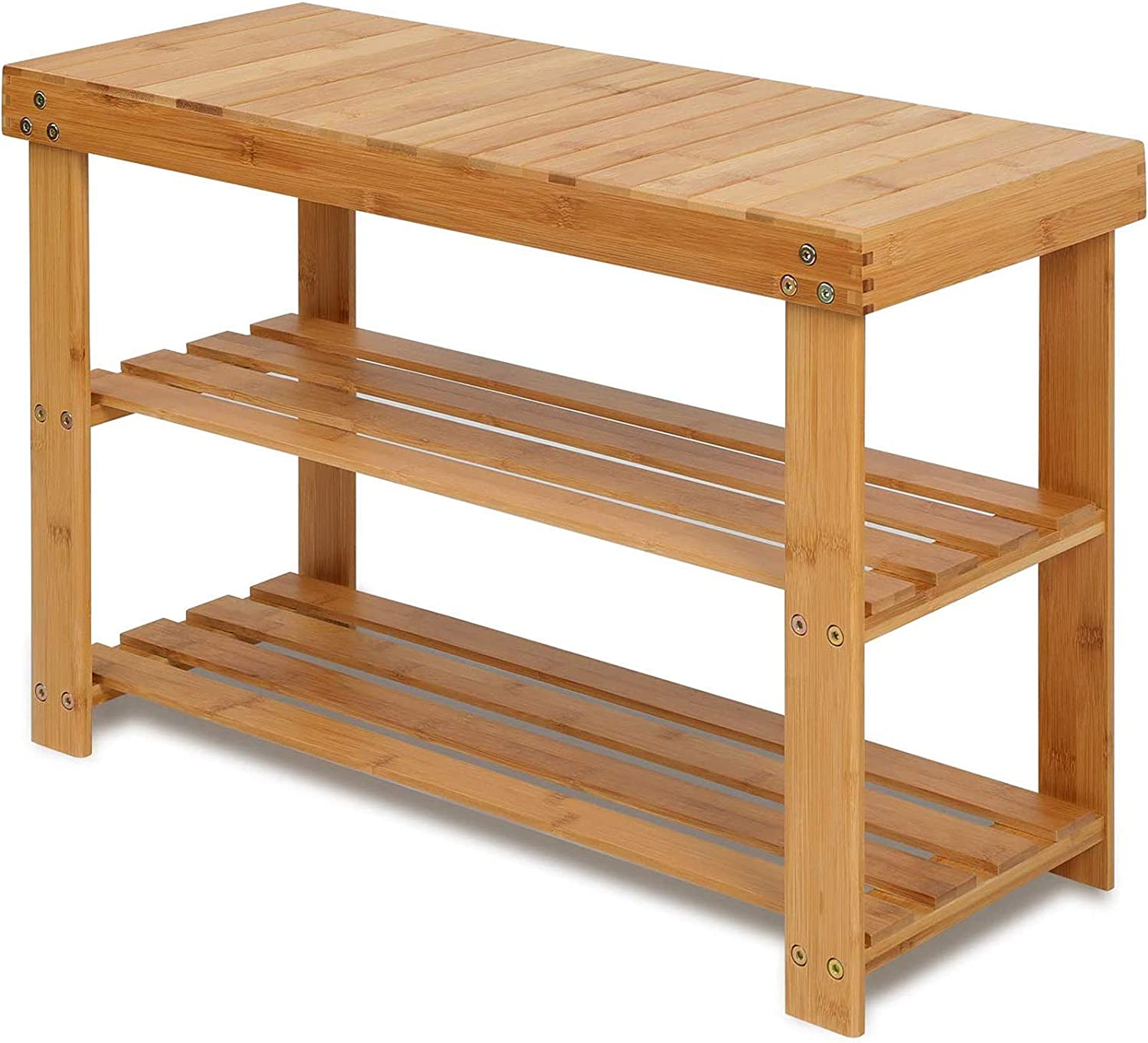 Storage Shelf Ideal for Entryway Hallway Bathroom Living Room and Corridor Modern Furniture Home Decor Office Easy Assemble 100/% Natural Bamboo Wood Shoe Rack Bench 2-Tier Shoe Organizer