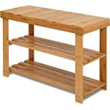 Bamboo Shoe Rack Bench, 3-Tier Shoe Shelf Organizer Holds up to 220 lbs, Entryway Storage Bench Ideal for Hallway Bathroom Li
