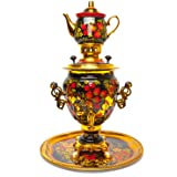Samovar Khohloma Russian Electric Kettle with Teapot and Tray