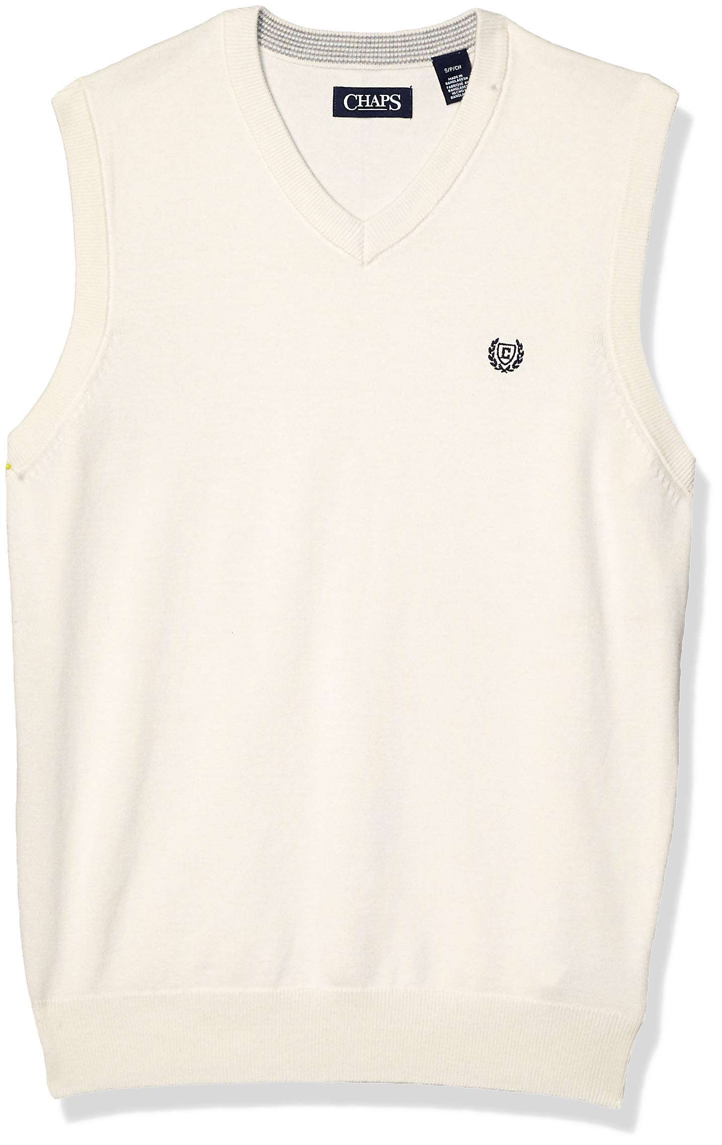 Chaps Men's Cotton V-Neck Sweater Vest, Essex Cream, L by Chaps