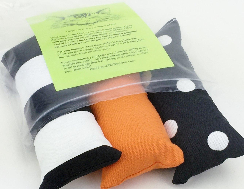 Cat Toy Catnip Kickers 3 PACK organic catnip with designer home decor weight Orange Black cotton fabric