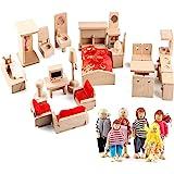 Gemileo 5 Set Dollhouse Furniture Accessories Wooden Bathroom/ Living Room/ Dining Room/ Bedroom/ Kitchen House Doll Decorati