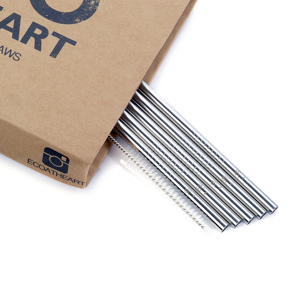 Eco at Heart Reusable Straws - Set of 8 SHORT Stainless Steel Drinking Straws - Straight Straw Cleaning Brush Included