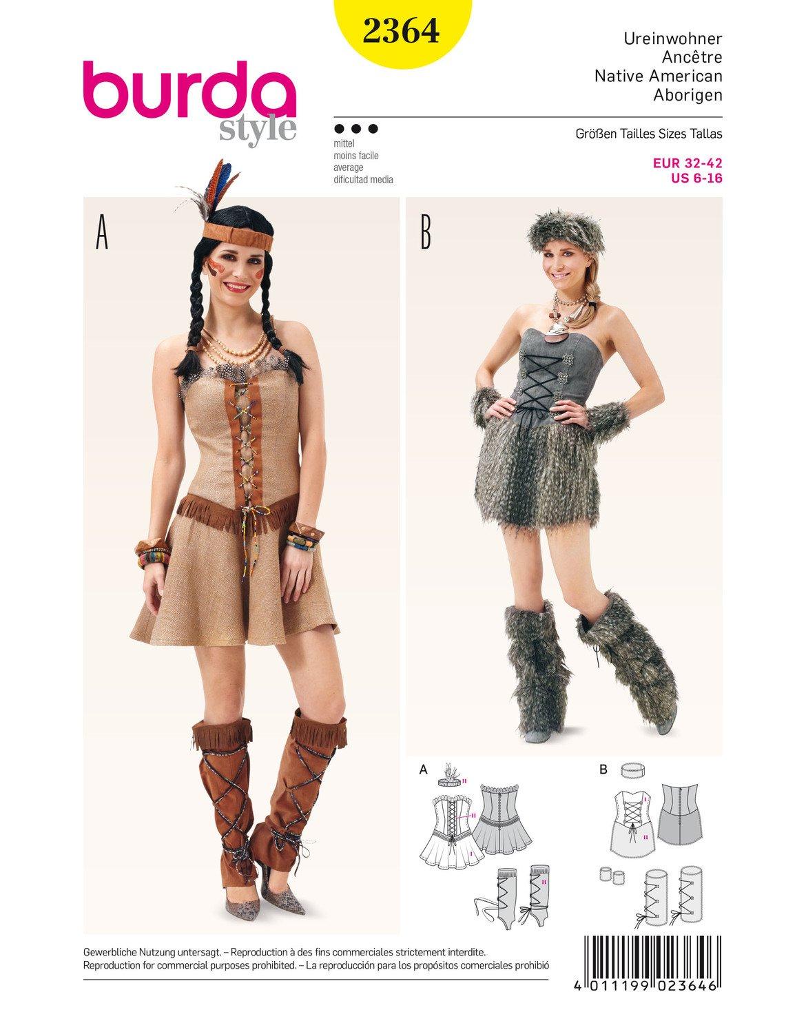 Burda Schnittmuster 2364 Native American Und Stone Age weiß: Amazon ...