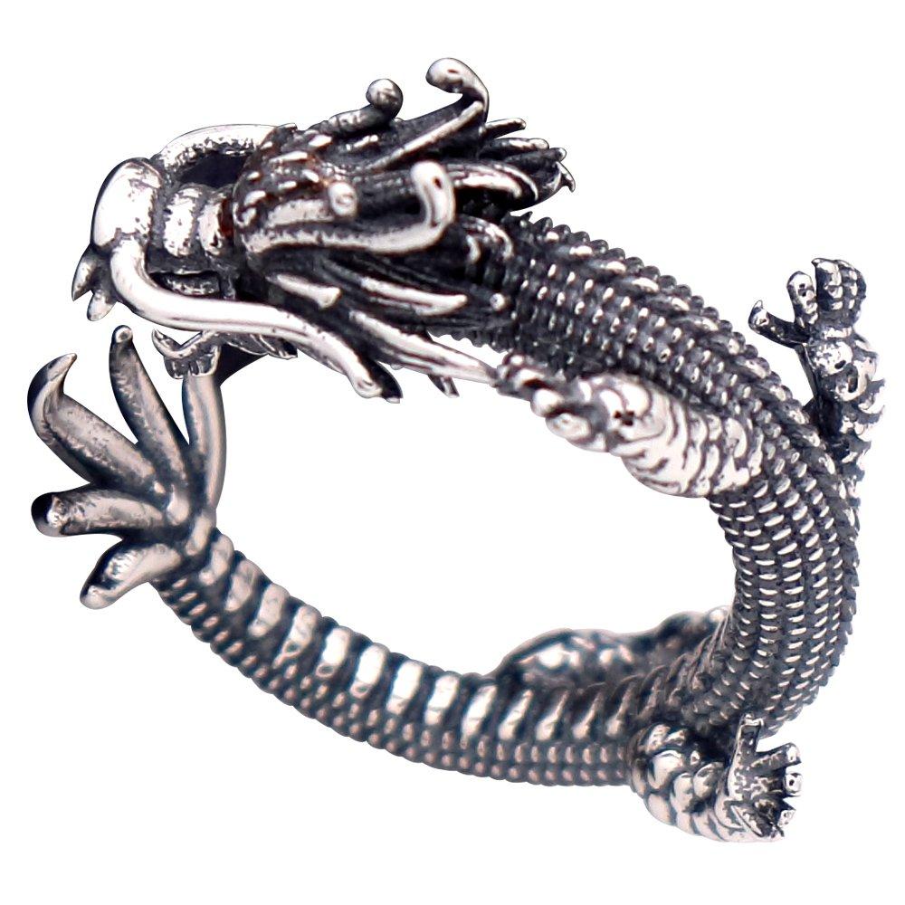 Anillo meñique abierto dragón chino plata de ley 925 negra vendimia para hombre mujer ajustable FORFOX F00236