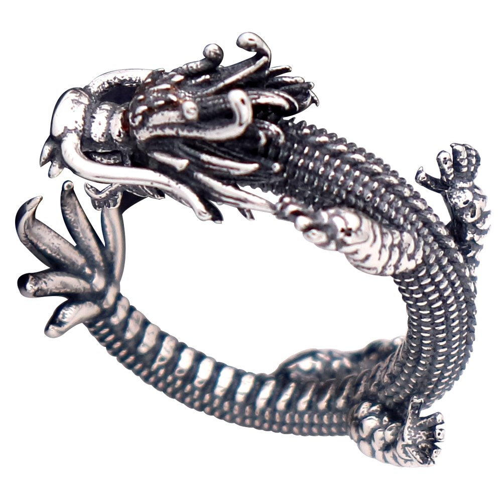 Vintage Unique 925 Sterling Silver Chinese Dragon Open Pinky Ring with Cubic Zironia for Men Women