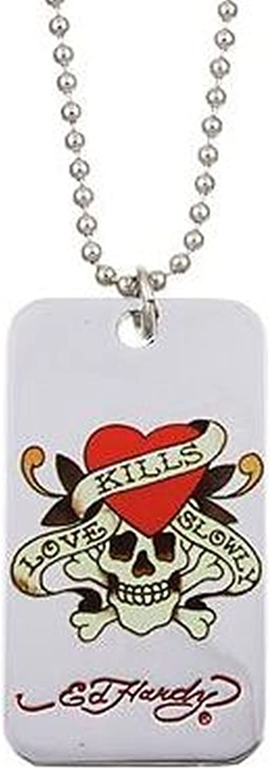 ... Ed Hardy Stainless Steel Love Kills Slowly Color Dog Tag Pendant Necklace
