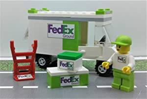 Building Toys City FedEx Grand (Green) Set Truck. Minifigure & More. Ready to Play
