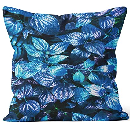 Astonishing Amazon Com Tropical Blue Leaf Burlap Pillow Home Decor Bralicious Painted Fabric Chair Ideas Braliciousco