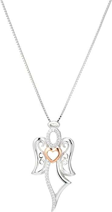 925 Sterling Silver Guardian Angel Heart Necklace CZ Pendant Rose Gold Plated for Women 18 chain
