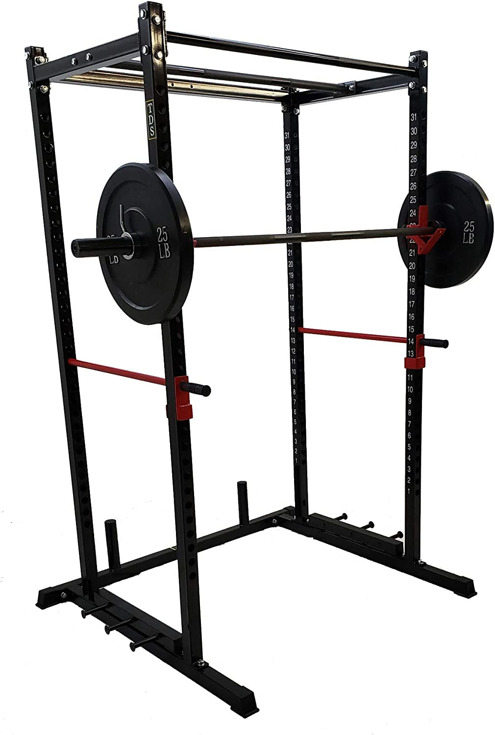 """Amazon.com: TDS Power Rack PKG-1000 lb Rated Black Power Rack, 1.25"""" Dia  Professionally knurled (2) Chinning Bars & Band Holder Attachment.  Provision to add LAT Attachment, Pull up/Chip up bar and More!:"""