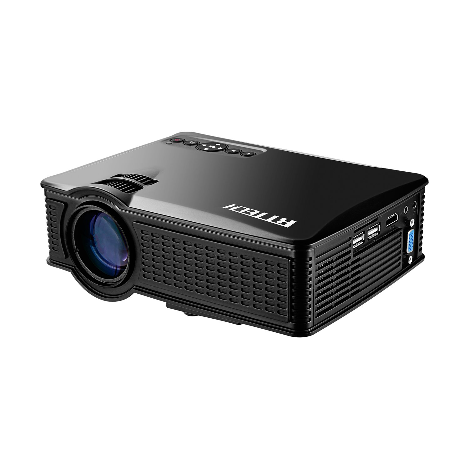 Portable Mini HD Projector 1080p, 1500 Lumens LED Video Projector For Home Theater Movies, Connects To Android Smartphone , Tablet, or PC Via HDMI, AV, VGA, USB and SD by RtTech