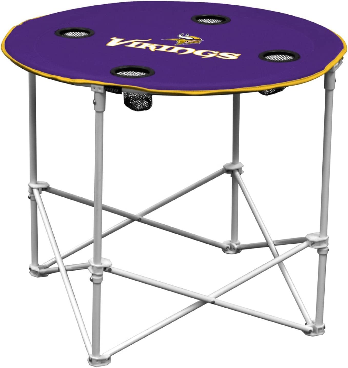 Minnesota VikingsCollapsible Round Table with 4 Cup Holders and Carry Bag, Multi