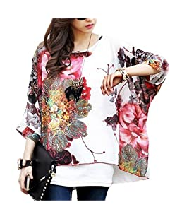 Imixbox Women Batwing Dolman Sleeve Chiffon Flowers Tops Blouse X-Large