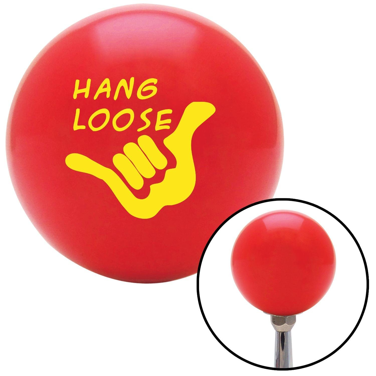 American Shifter 95657 Red Shift Knob with M16 x 1.5 Insert Yellow Hang Loose w//Hand