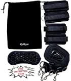 RalRose Bed Restraints Set - Including a FREE Instruction Manual, Rose Embroidered Blindfold and A Soft Touch Velvet Bag - Strong, Adjustable Straps Fit All Bed Sizes - Perfect for Both Men & Women