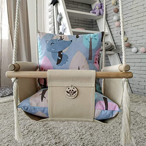 Amazon Com Hanging Baby Swing With Canvas Seat Premium Quality Outdoor Indoor Toddler Swing Super Sturdy Wooden Baby Swing Made Of Natural Materials Hammock Baby Swing Chair For Infant Handmade