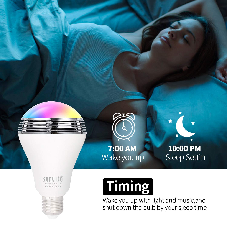 LED Lampadina Altoparlante Bluetooth 4.0 Smart Musica, Sunvito Wireless Colorata RGB White E27 Dimmerabile per Feste e party APP gratis per smartphone iOS e Android