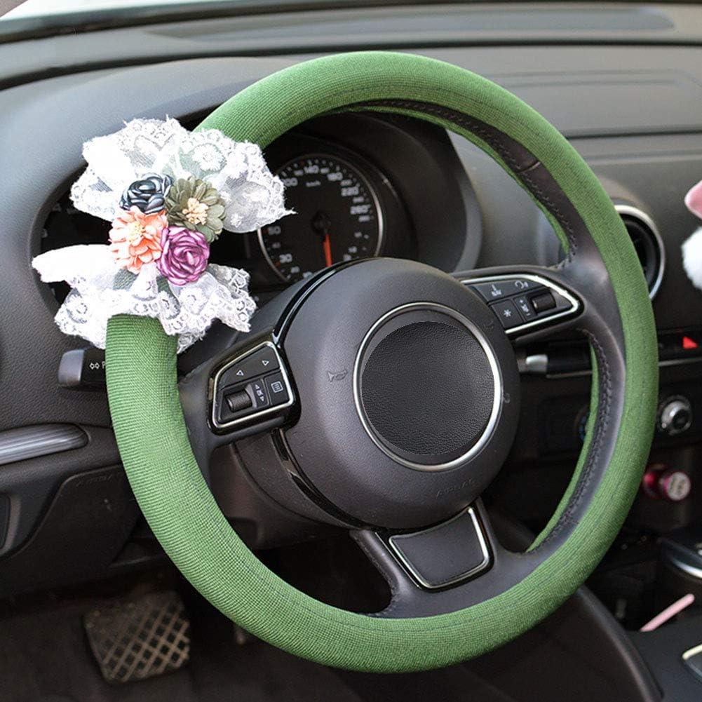 LCYCN-Steering Wheel Cover Volante Deportivo Universal Antideslizante Cubierta del Volante del Coche Protector De Dise/ño De Part/ículas De Masaje De Cuero De Camuflaje Stitc