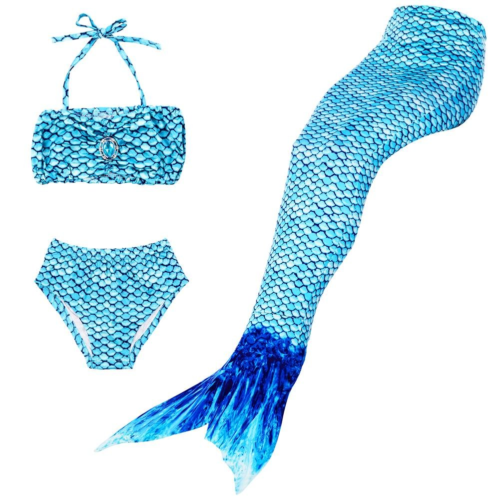 BESTYLING 3PCS Girls Mermaid Tail Swimsuit Princess Bikini Swimwear Set