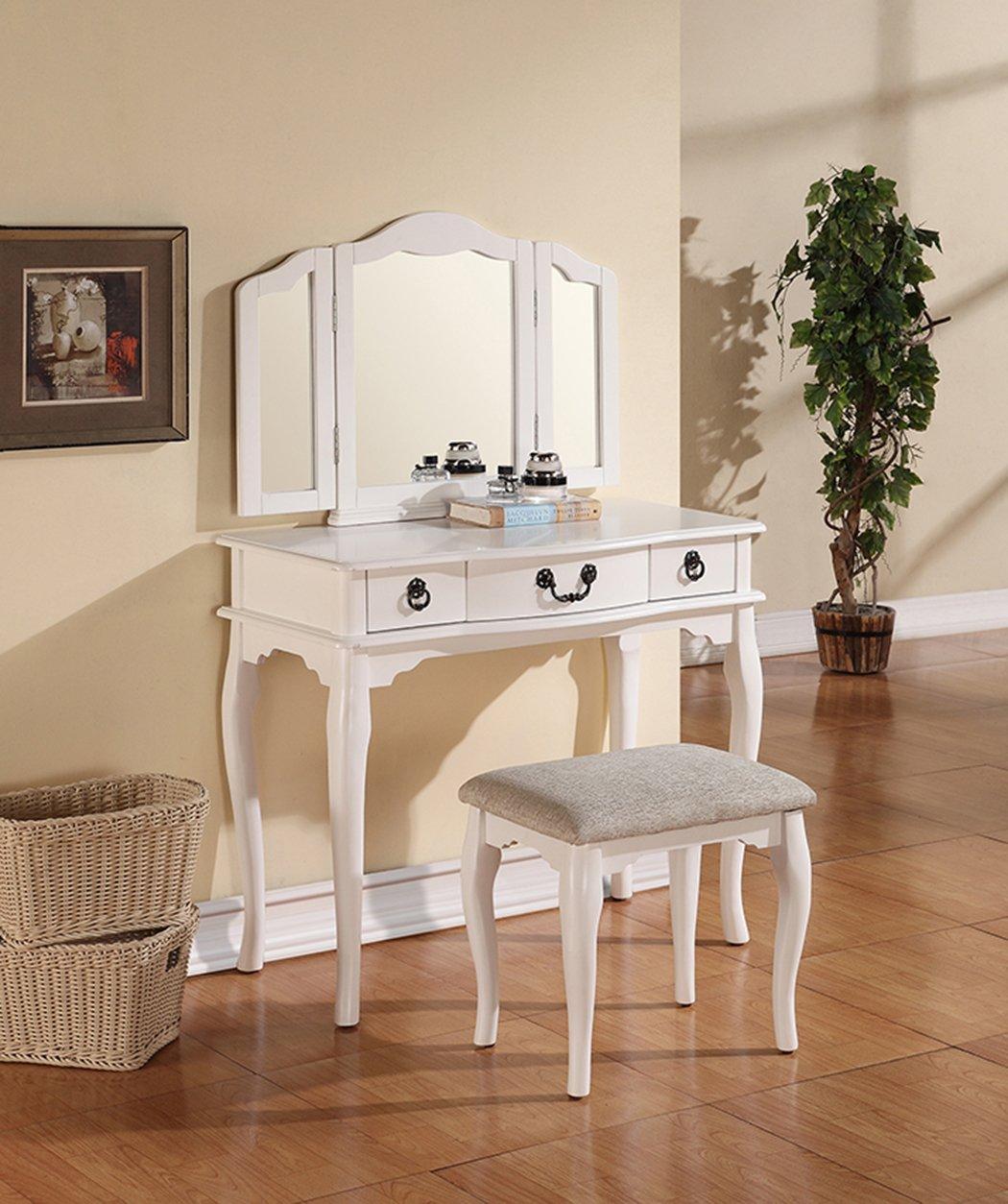 Amazon.com: Poundex Bobkona Susana Tri Fold Mirror Vanity Table With Stool  Set, White: Kitchen U0026 Dining