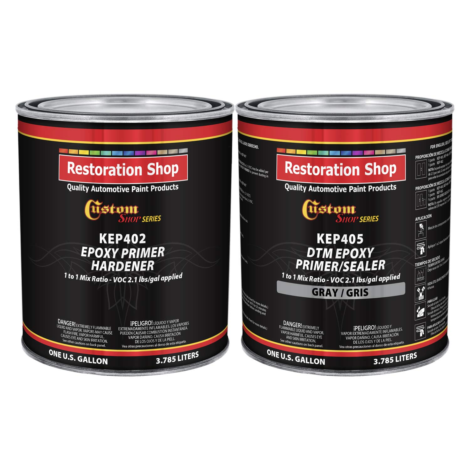 Custom Shop - Gray Epoxy Primer/Sealer 2.1 VOC (2-Gallon Kit) Anti-Corrosive DTM High-Performance Primer for Automotive and Industrial use Kit = 1 Gal. Epoxy Primer +1 Gal. Epoxy Hardener (1-1 Mix) by Custom Shop
