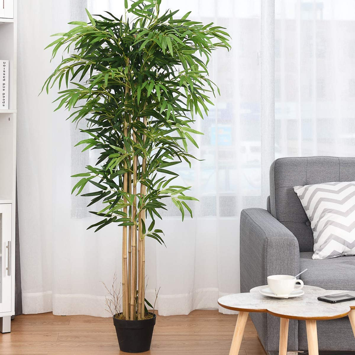 Amazon Com Bestcomfort 5 Feet Artificial Bamboo Silk Tree Decorative Indoor House Fake Plant Artificial Leafy Tree Faux Potted Indoor Floor Plant For Home Office Decor 5 Feet Kitchen Dining