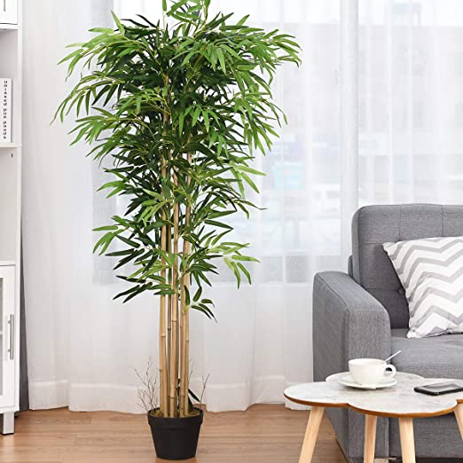 Amazon Com Happygrill Artificial Bamboo Tree Greenery Plants In