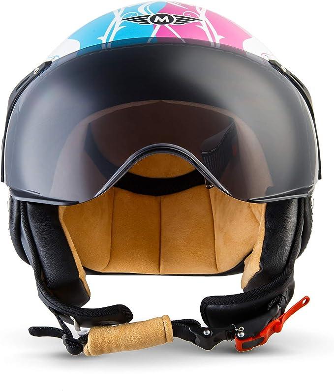 Cloth Bag /· Beige /· Visor /· incl SOXON SP-325-URBAN Creme /· Mofa Jet-Helmet Chopper Cruiser Retro Vespa-Helmet Bobber Vintage Moto-Helmet Biker Scooter-Helmet Pilot /· ECE certified /· Leather Design /· incl