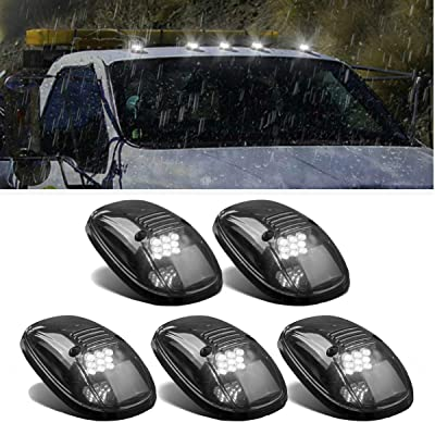 5x Smoke Roof Cab Marker 264145BK Top Clearance White 9LED Lights Replacement For 1999 2000 2001 2002 Dodge Ram 2500 3500: Automotive