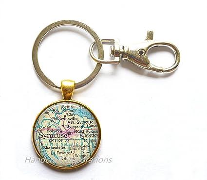 Amazon.com  Charming Keychain Syracuse map Key Ring 06e556fb8