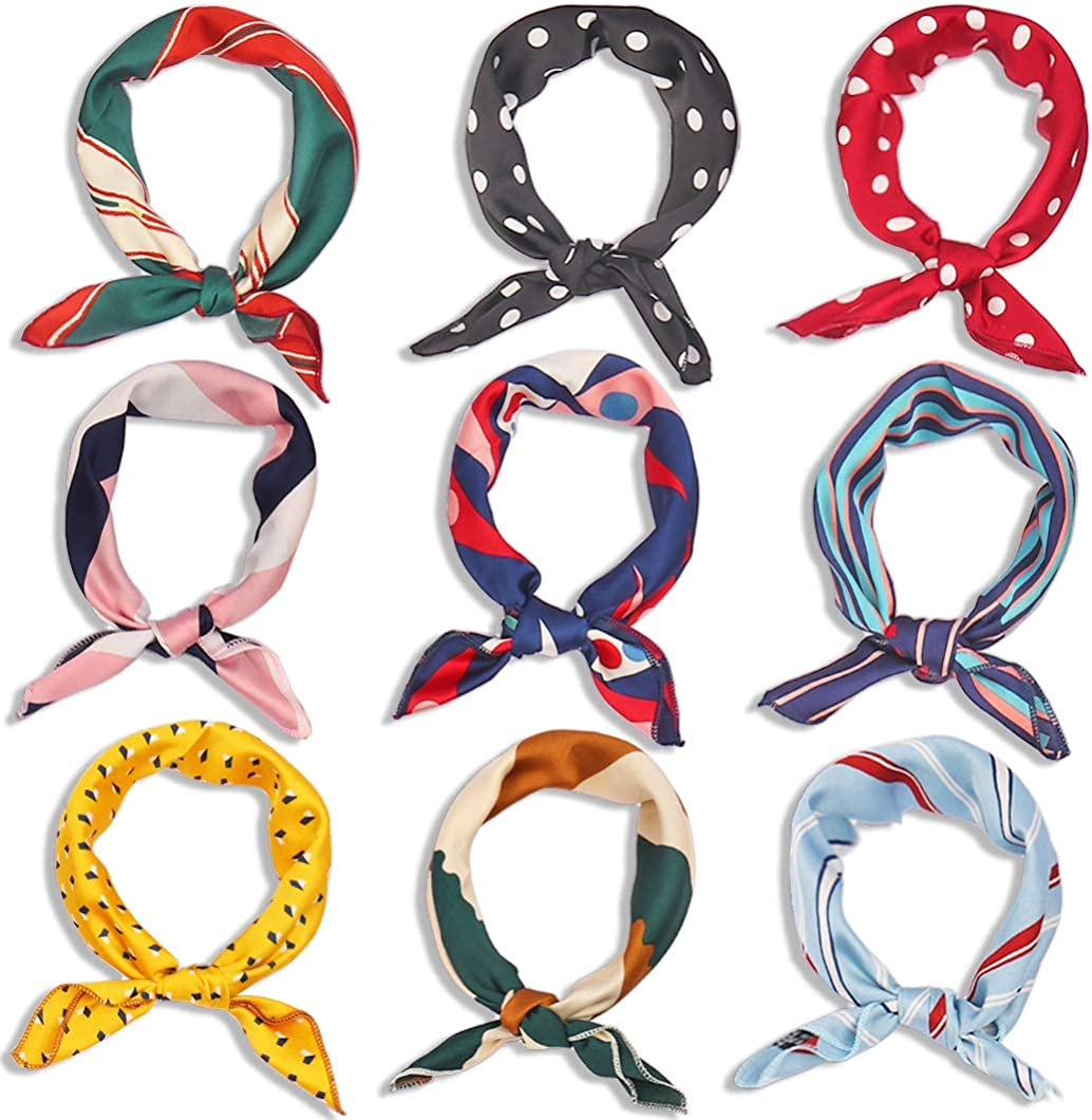 9 Pieces Silk Scarf Square Satin Head Scarf Fashion Women's Scarf Small Square Satin Scarf Hair Wraps Neck Headscarf for Women