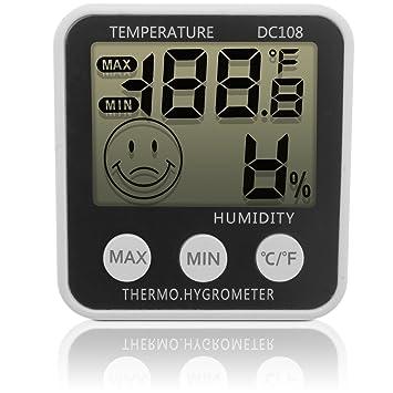 igadgitz Xtra Digital LCD Humedad Medidor Termómetro Higrómetro con Soporte + Iman De Nevera