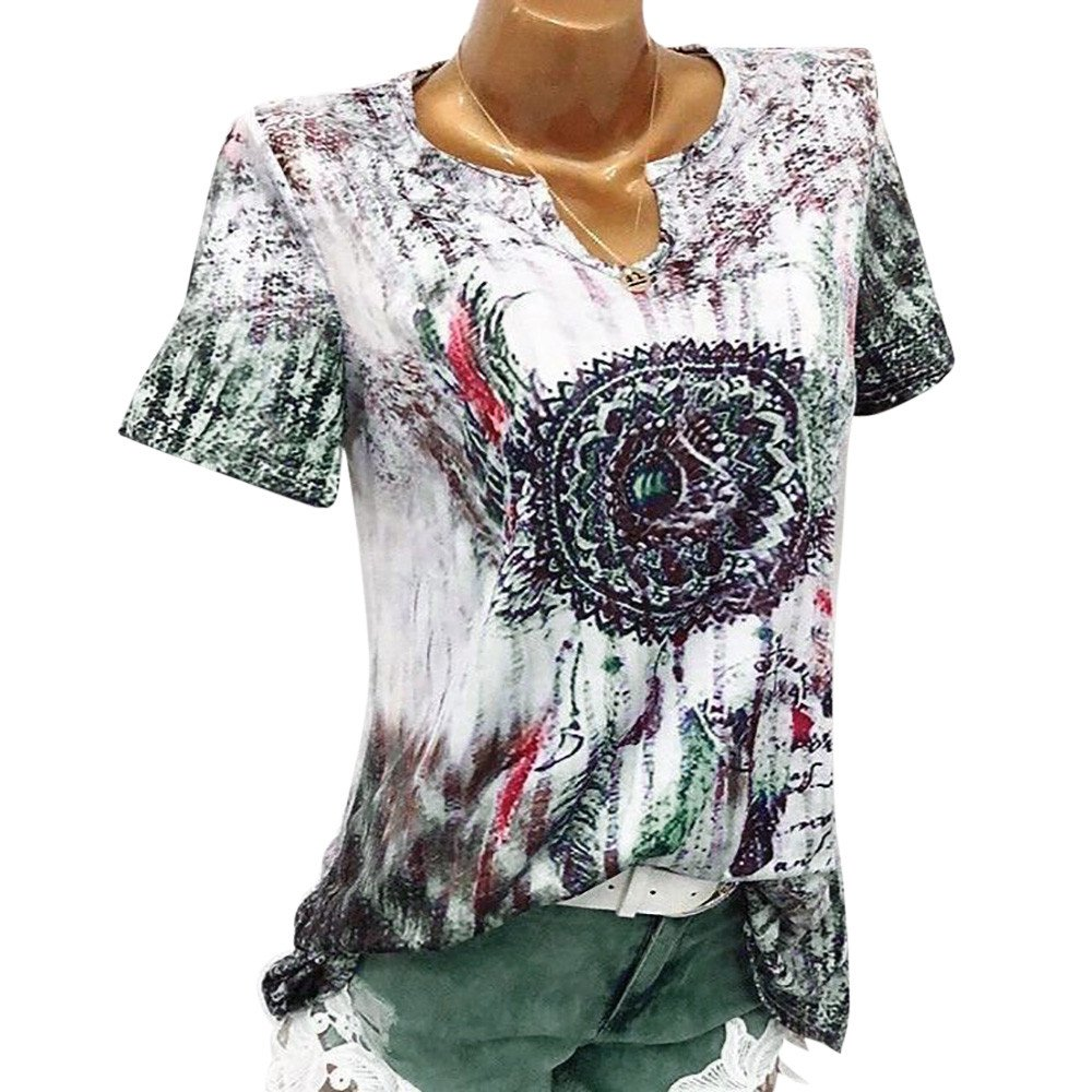 TnaIolral Women Blouse Windbell Print V-Neck Short Sleeve Pullover Tops Shirt Green