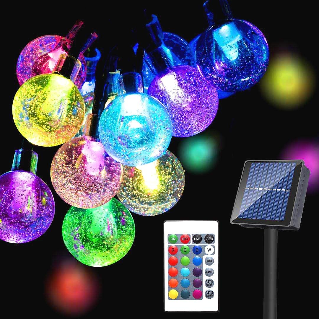 Solar Globe String Lights Outdoor 65LED16Colors Changing 20Modes Waterproof Fairy Lights with Remote,39Ft Solar Powered Starry Light for Garden Fence Yard Home Party Wedding Christmas Decoration