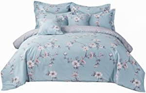 FADFAY Floral Girls Bedding Duvet Cover Set Twin Size Premium 100% Cotton White Floral Ultra Soft and Hypoallergenic Classic Bedding 3 Pieces:1 Zipper Duvet Cover, 2 Pillowshams