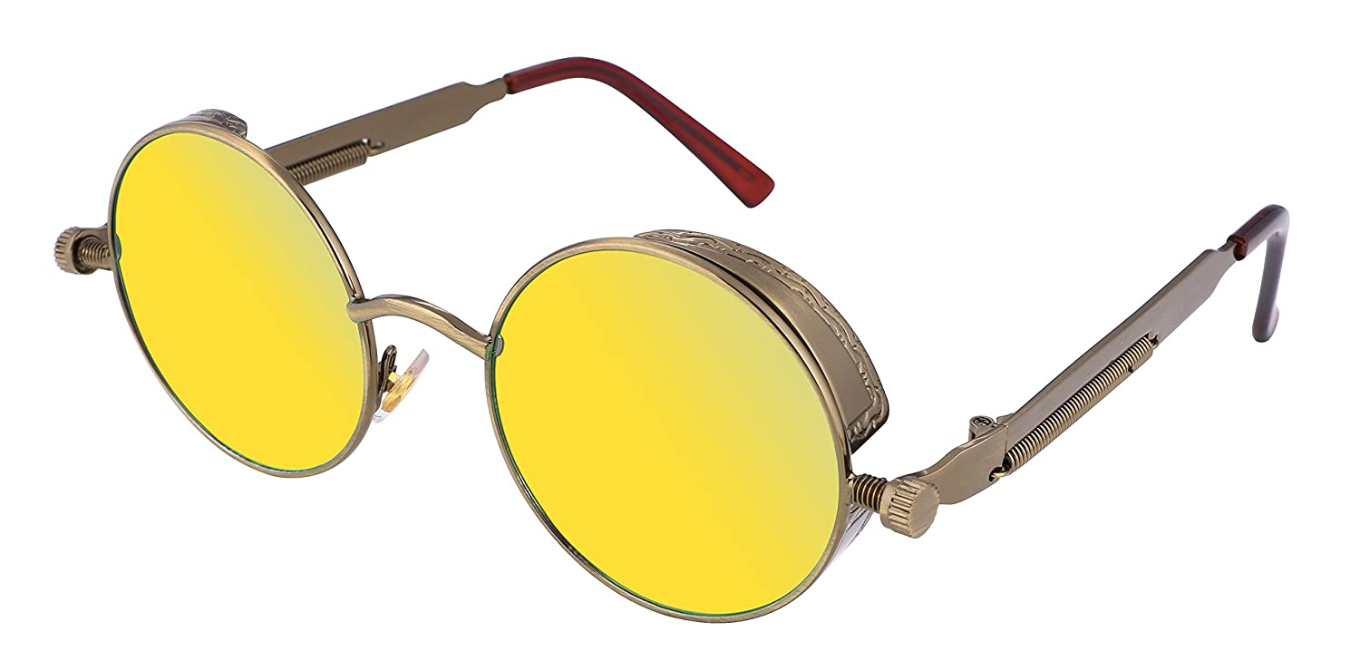 FEISEDY Retro Gothic Steampunk Sunglasses Round Metal Frame Men B1857 B1857-003-F