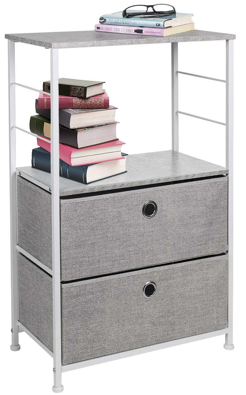 Sorbus Nightstand 2-Drawer Shelf Storage - Bedside Furniture & Accent End Table Chest for Home, Bedroom, Office, College Dorm, Steel Frame, Wood Top, Easy Pull Fabric Bins (Gray)