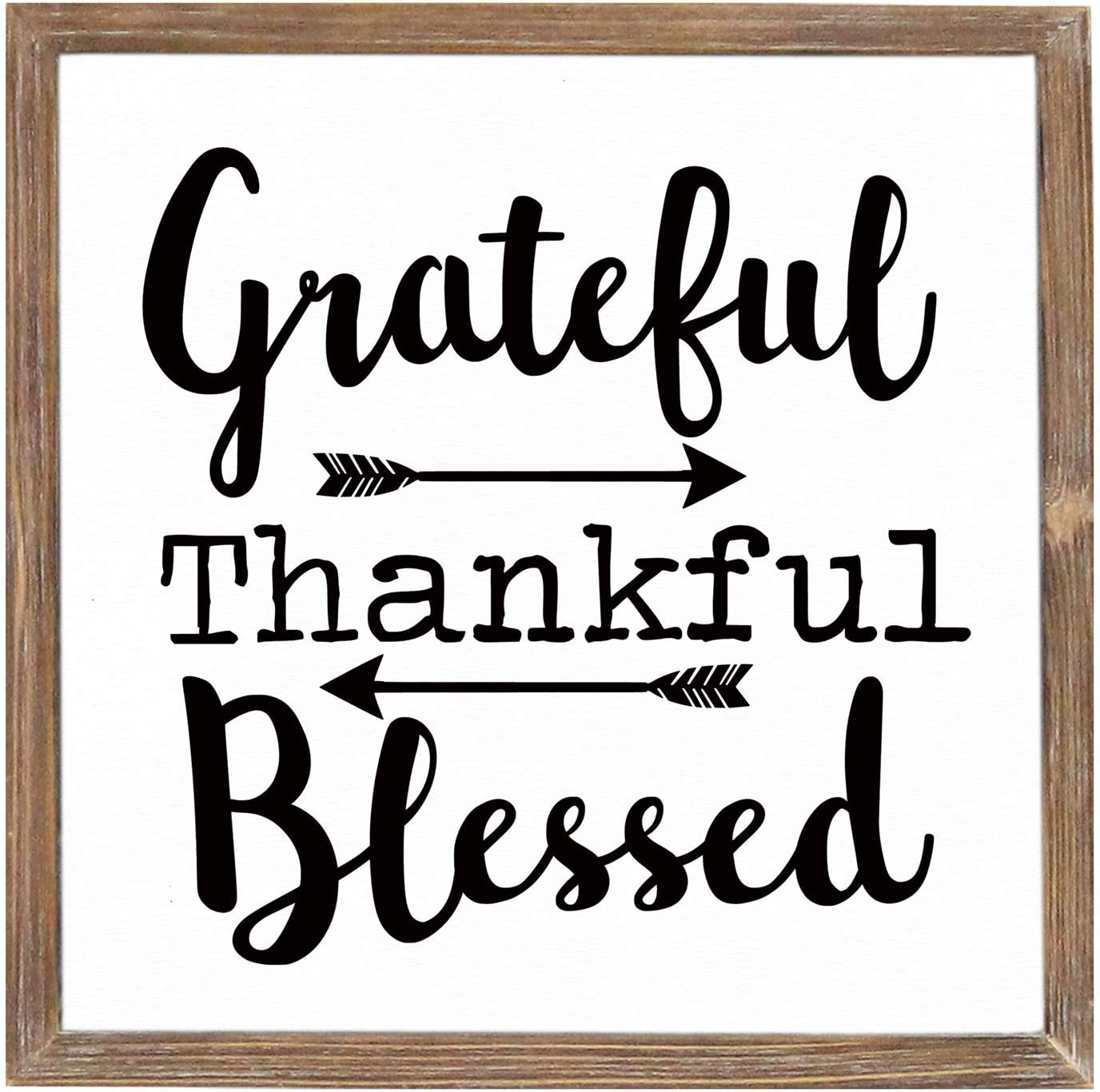 Grateful Thankful Blessed Distressed Wood Framed Art Sign for Home Decor,Square Wall Decor with Quotes Sayings