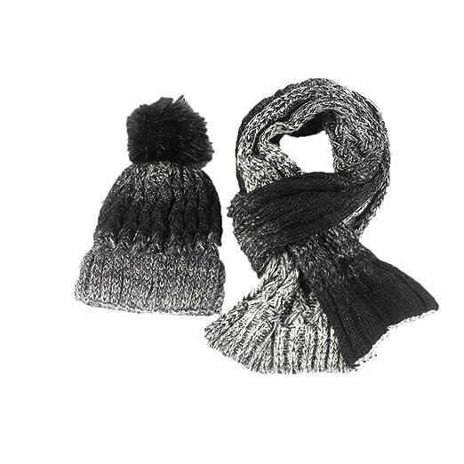 499a55f8ea4 iYBUIA Autumn Winter Lovers Knitted Beanie Hat Knitt Scarf Two Pieces Set  Cap Women(Black