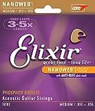 Elixir Strings Phosphor Bronze Acoustic Guitar Strings w NANOWEB Coating, Medium (.013-.056)