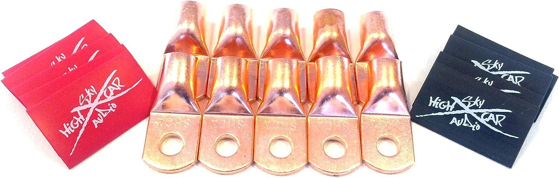 "10 1//0 Gauge Copper Ring Terminals 3//8/"" ORANGE Heat Shrink Tubing LUGS"