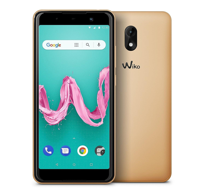 """Wiko Lenny5 - Smartphone de Pantalla panorámica 5,7"""" HD+ (Dual SIM, 16 GB de ROM, procesador Quad Core, cámaras de 8 y 5 MP, Android 8 GO Edition, con Carcasa) Oro"""