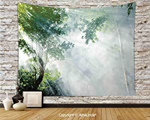 "yananyin Tapestry Wall Hanging Sunbeam Between Shadows of Trees Idyllic Scenery of Solitude in Jungle Theme Tapestry Decor Wall Tapestry for Bedroom Dorm Room 80"" Wx60 L"