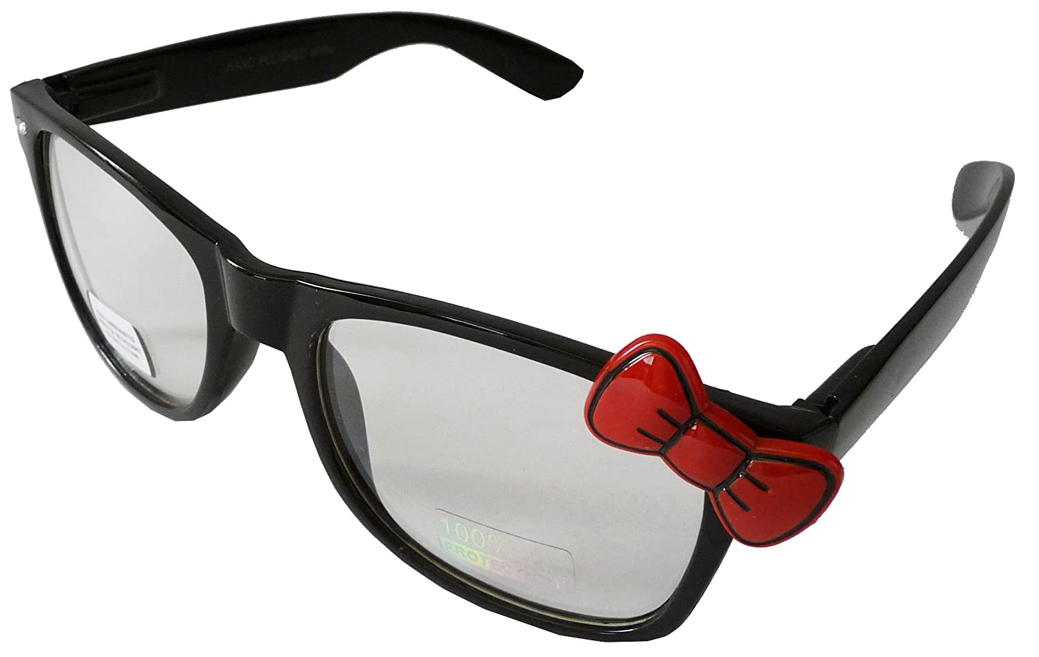 7c0073396 Sanrio Hello Kitty Style Designer Inspired Wayfarers Prescription Glasses  Frame - Black Frame with Red Bow: Amazon.co.uk: Sports & Outdoors