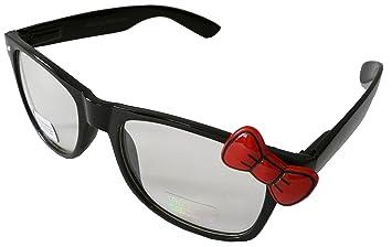 3c238a83c4 Sanrio Hello Kitty Style Designer Inspired Wayfarers Prescription Glasses  Frame - Black Frame with Red Bow