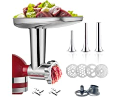 Stainless Steel Food Grinder Attachment for KitchenAid Stand MixerDurable Meat Grinder, Including 3 Sausage Stuffer Dishwashe