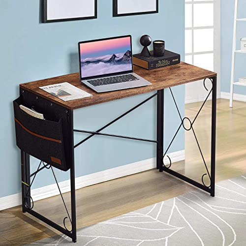 VECELO Writing Computer Folding Desk/Sturdy Steel Laptop Table