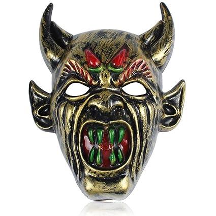 DaoRier 1pc Decoración de Halloween Accesorios de Halloween Máscara Ngau Tau Máscara de demonio Horror zombie
