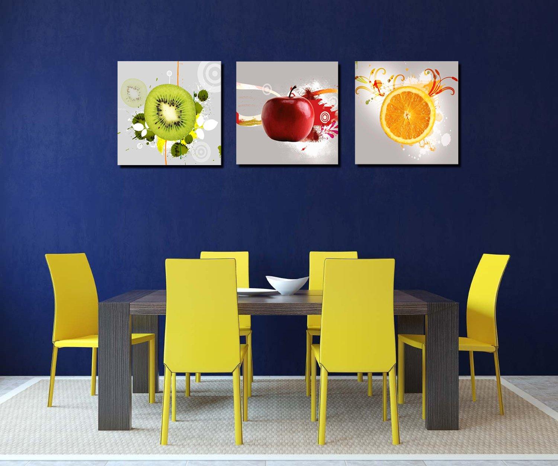 Apple Home Decor: Red Apple Orange Kiwi Wall Art Print Canvas Framed Kitchen